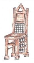 Židle kombinace dřevo kov záda erb