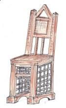 Židle kombinace dřevo kov záda erb odlehčená