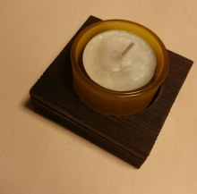 Stojánek čtvereček na 1 čajovou svíčku v misce