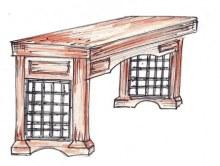 Stůl kombinace dřevo kov barva
