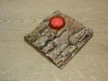 Stojánek na čajovou svíčku dřevo-kůra 15x15