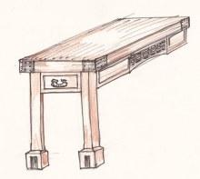 Stůl barevná kresba